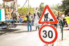 Znak utrzymanie na drodze Fotografia Stock