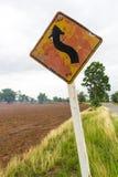 Znak wsi stara krzywa zdjęcia stock