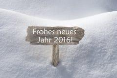 Znak Z Śnieżnym Frohes Neues Podłym Szczęśliwym nowym rokiem Obrazy Royalty Free