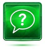 Znak zapytania bąbla ikony neonowy jasnozielony kwadratowy guzik ilustracji