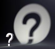 Znak zapytania i cień Obrazy Stock