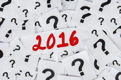 Znak zapytania 2016 i liczby Obrazy Stock