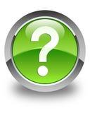 Znak zapytania ikony glansowany zielony round guzik Zdjęcia Stock
