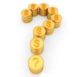 Znak zapytania w postaci złocistych monet z dolarowym znakiem royalty ilustracja