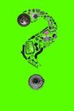Znak zapytania z auto częściami dla samochodu Fotografia Royalty Free