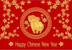 2019 znak zodiak Powitanie inskrypcja z Chińskim nowym rokiem Sakura Prosiaczek w złocie z ciocią ilustratorzy ilustracja wektor