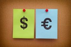 znaka dolarowy euro ustalony wektor Fotografia Royalty Free