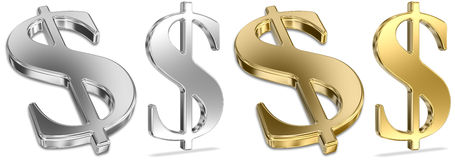 znaka dolarowy złoty srebro Zdjęcie Royalty Free