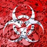 Znaka ostrzegawczego Biohazard, biel, czerwone czaszki Zdjęcia Stock