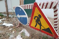 Znaka ulicznego †'drogi naprawa: obwodnica objazd Obraz Royalty Free