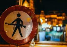 Znaka Ulicznego Amsterdam centrali stacja Zdjęcia Stock