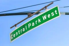 znaka ulicznego central park Zachodni w Miasto Nowy Jork Obrazy Royalty Free