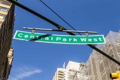 znaka ulicznego central park Zachodni w Miasto Nowy Jork Obraz Stock