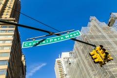 znaka ulicznego central park Zachodni w Miasto Nowy Jork Zdjęcie Stock