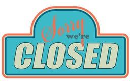 znaka zamknięty sklep fotografia stock