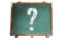 Znaka zapytania bielu znak na, stojak odizolowywający na bielu zielonego starego grungy rocznika blackboard z ramą lub i Zdjęcie Royalty Free