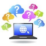 Znaka Zapytania interneta I sieci pojęcie Obrazy Royalty Free