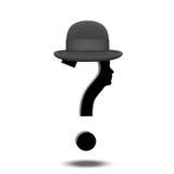 Znaka Zapytania kapelusz i istota ludzka Zdjęcie Stock