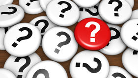 Znaka Zapytania klient Kwestionuje pojęcie Obrazy Stock