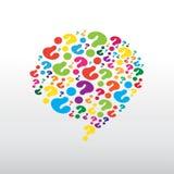 Znaka zapytania wzór w colourful chmurze Obraz Stock
