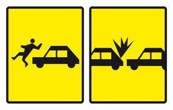 znaki drogowe wypadków Obrazy Royalty Free
