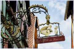 Znaki handel w Alsace obraz royalty free