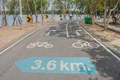Znaki i symbole na rowerowej ścieżce obrazy stock