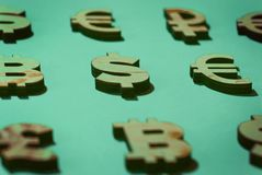 Znaki i symbole pieniądze zdjęcie stock