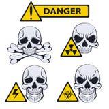 Znaki niebezpieczeństwo tła odcisku palca ilustracyjny biel royalty ilustracja