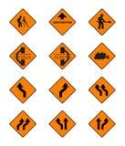 Znaki ostrzegawczy, ruchów drogowych znaki ustawiający Fotografia Royalty Free