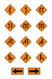 Znaki ostrzegawczy, ruchów drogowych znaki ustawiający Obraz Royalty Free