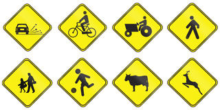 Znaki ostrzegawczy używać w Urugwaj Obraz Stock