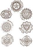 Znaki siedem chakras royalty ilustracja