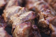Znakomici świezi soczyści kawałki mięsa kebabu shish dłoniak na węglu drzewnym piec na grillu obrazy stock