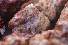 Znakomici świezi soczyści kawałki mięsa kebabu shish dłoniak na węglu drzewnym piec na grillu zdjęcie royalty free