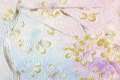 Znakomici kwiaty na grunge papierze Fotografia Royalty Free