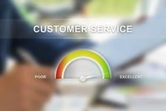 Znakomita obsługa klienta na wymiernik skala obrazy royalty free
