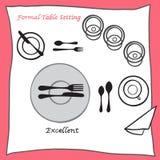 Znakomity Łomota stołowego położenia właściwy przygotowania cartooned cutlery ilustracja wektor