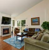 Znakomity żywy pokój z błękitną grabą i dywanikiem obraz royalty free