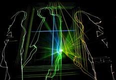 Znakomity laseru przyjęcie przy klubem ludzie Obrazy Royalty Free
