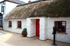 Znakomity przykład utrzymana Irlandzka chałupa z wyborowym pokrywającym strzechą dachem w Londonderry Irlandia Fotografia Royalty Free
