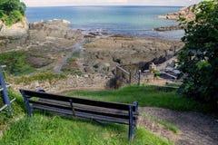 Znakomity widok zatoka Combe Martin obrazy royalty free