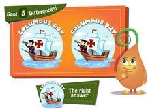 Znaleziska 5 różnic Kolumb dzień Obrazy Stock