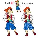 Znaleziska 10 różnic pirat ilustracji
