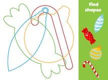 Znalezisko chujący kształty i przedmioty Edukacyjna gra Boże Narodzenia i nowego roku tematu aktywność dla berbeci i dzieci ilustracja wektor