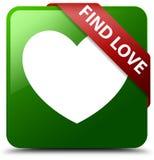 Znalezisko miłości zieleni kwadrata guzik Obrazy Stock