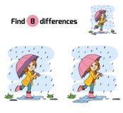 znalezisko różnicy Dziewczyna bieg z parasolem w deszczu royalty ilustracja