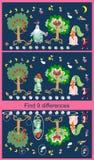 znalezisko różnicy Edukacyjna gra dla dzieci Śliczny obrazek z rozochoconymi jabłoniami, ogórkiem, oberżyną i marchewką, royalty ilustracja