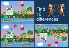 znalezisko różnicy Edukacyjna gra dla dzieci Piękny obrazek z kasztelem, zabawy rybą, rozochoconą małpą i jabłoniami, ilustracji