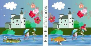 znalezisko różnicy Edukacyjna gra dla dzieci również zwrócić corel ilustracji wektora Śliczne kreskówek ryby, jaskrawi kwiaty i p royalty ilustracja